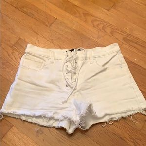 Tie up white jean shorts